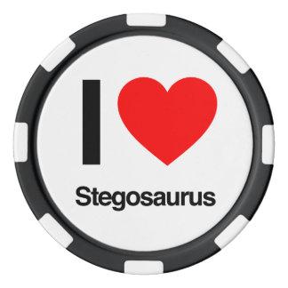 amo el stegosaurus juego de fichas de póquer