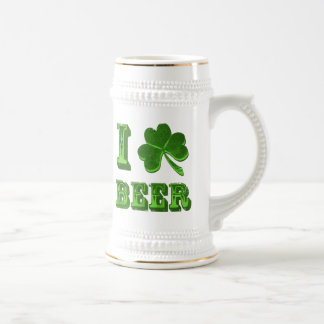 Amo el stein del día de St Patrick del trébol de Jarra De Cerveza