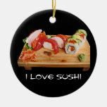 Amo el sushi adorno redondo de cerámica