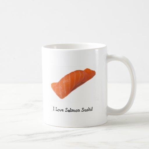 ¡Amo el sushi de color salmón! Taza Básica Blanca