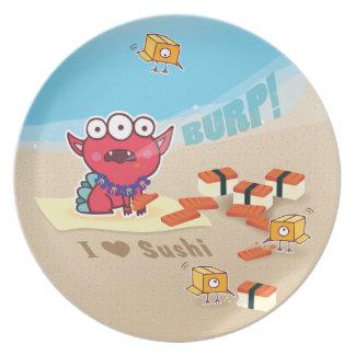 Amo el sushi del Spam con la placa de los monstruo Platos