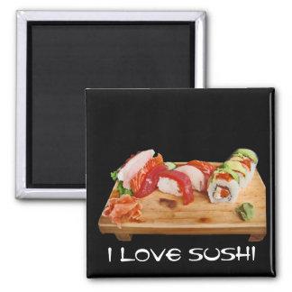 Amo el sushi imán cuadrado