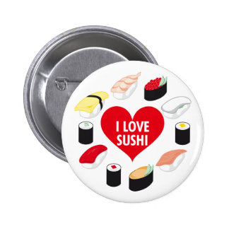 Amo el sushi pin redondo de 2 pulgadas