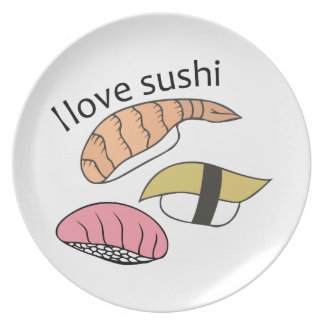 Amo el sushi plato de cena