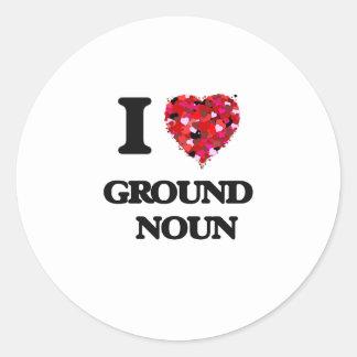 Amo el sustantivo   de tierra pegatina redonda