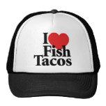 Amo el Tacos de pescados Gorros Bordados