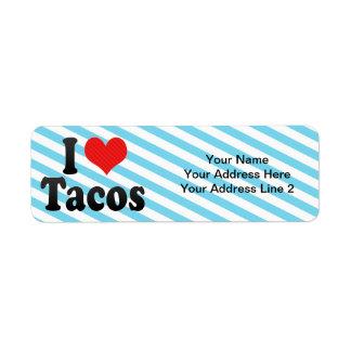 Amo el Tacos Etiqueta De Remitente