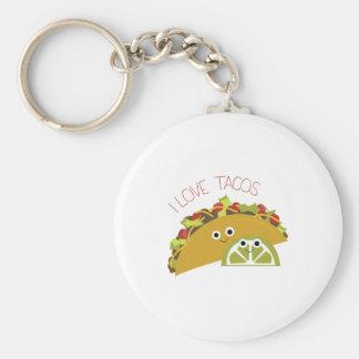 Amo el Tacos Llavero Redondo Tipo Chapa