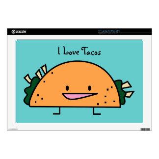 Amo el Tacos piel del ordenador portátil de 17 pul Calcomanías Para Portátiles
