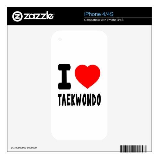 Amo el Taekwondo Calcomanías Para El iPhone 4