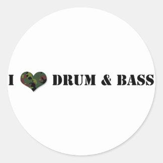 Amo el tambor y el bajo pegatina redonda