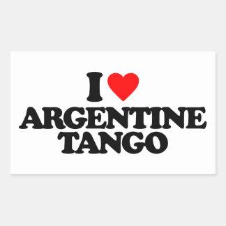 AMO EL TANGO DE ARGENTINA PEGATINA RECTANGULAR