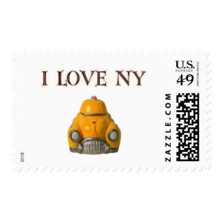 Amo el taxi a cuadros amarillo de Nueva York Estampilla