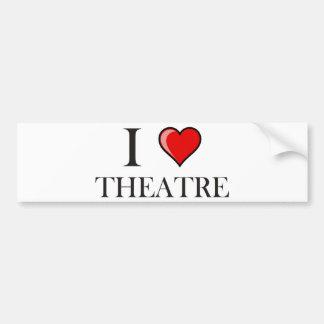 Amo el teatro pegatina de parachoque