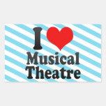 Amo el teatro musical rectangular pegatinas