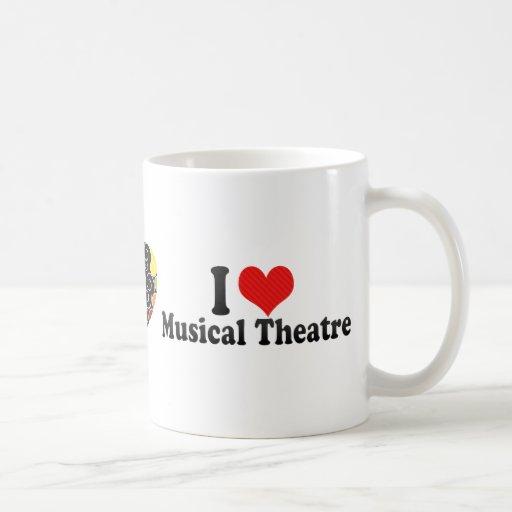Amo el teatro musical taza básica blanca