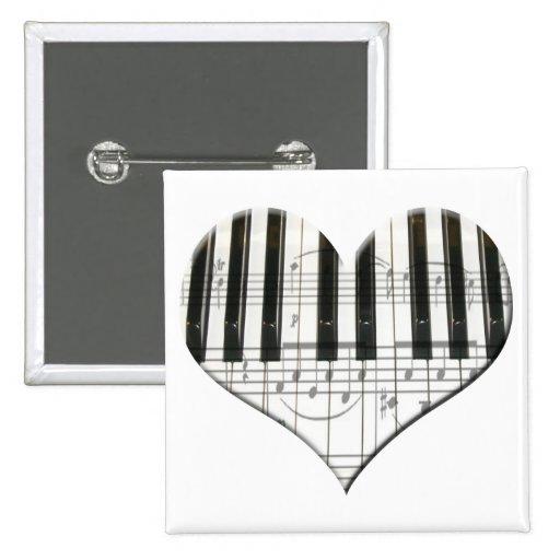 Amo el teclado del corazón de la música del piano  pin