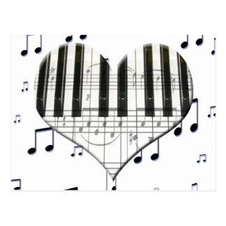 Amo el teclado del corazón de la música del piano  postal
