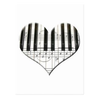 Amo el teclado del corazón de la música del piano  postales