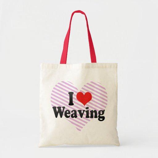 Amo el tejer bolsas lienzo