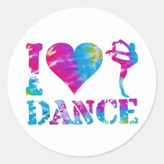 Amo el teñido anudado de la danza etiqueta redonda