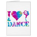 Amo el teñido anudado de la danza tarjetas