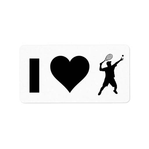 Amo el tenis (el varón) etiqueta de dirección