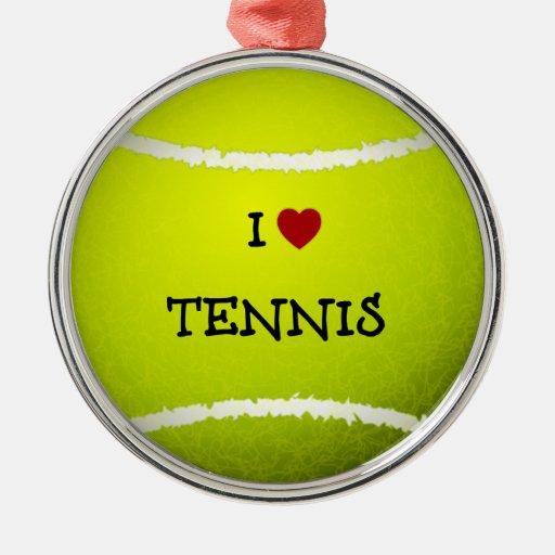 Amo el tenis - pelota de tenis adorno navideño redondo de metal