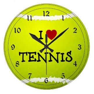 Amo el tenis - pelota de tenis reloj redondo grande