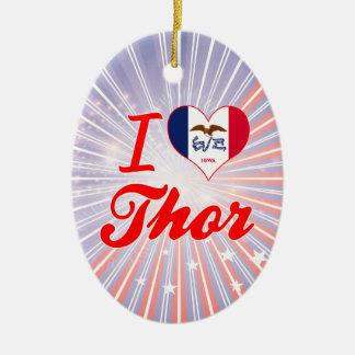 Amo el Thor, Iowa Adorno Ovalado De Cerámica
