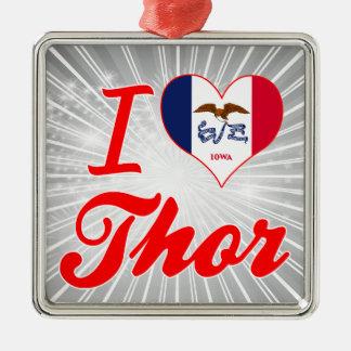 Amo el Thor, Iowa Adorno Cuadrado Plateado