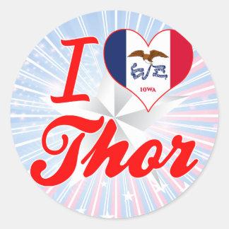 Amo el Thor, Iowa Pegatina Redonda