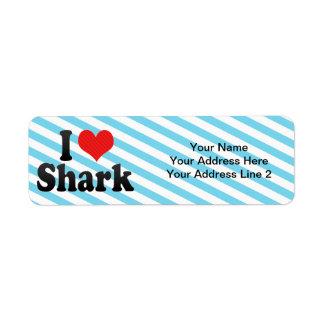 Amo el tiburón etiquetas de remite