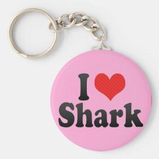 Amo el tiburón llavero redondo tipo pin