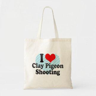 Amo el tiroteo del tiro de pichón bolsa tela barata