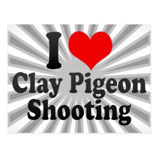Amo el tiroteo del tiro de pichón postales