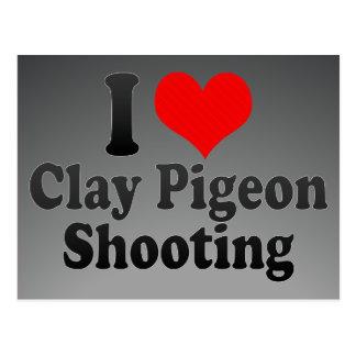 Amo el tiroteo del tiro de pichón tarjetas postales