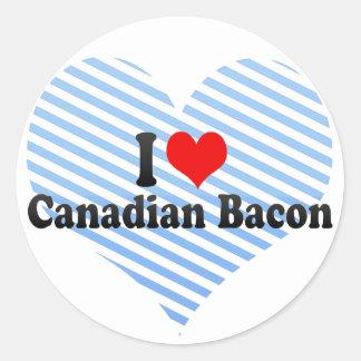 Amo el tocino canadiense etiqueta redonda