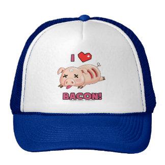 Amo el tocino con el cerdo divertido y el corazón  gorras