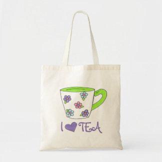 Amo el tote de cerámica de la taza de té de la bolsa tela barata