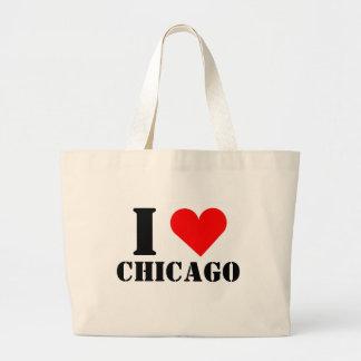 Amo el tote del jumbo del corazón de Chicago Bolsa Tela Grande