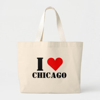 Amo el tote del jumbo del corazón de Chicago Bolsas De Mano
