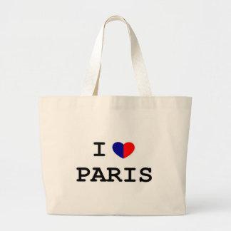 Amo el tote del jumbo del corazón de París Bolsa Tela Grande