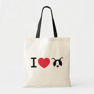 Amo el tote del perrito bolsa tela barata