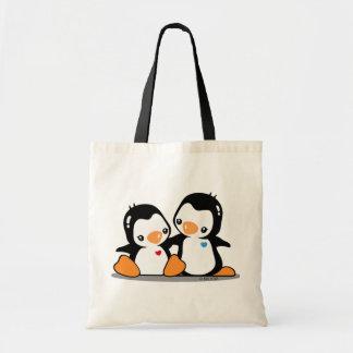 Amo el tote del presupuesto de los pingüinos bolsa lienzo