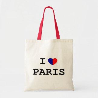 Amo el tote del presupuesto del corazón de París Bolsa Tela Barata