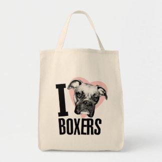 Amo el tote del ultramarinos de los boxeadores bolsa tela para la compra