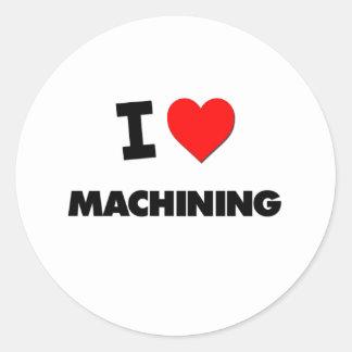 Amo el trabajar a máquina pegatinas redondas