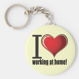¡Amo el trabajar en casa! Llavero Redondo Tipo Pin