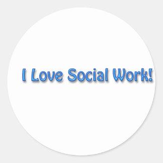 Amo el trabajo social etiquetas redondas